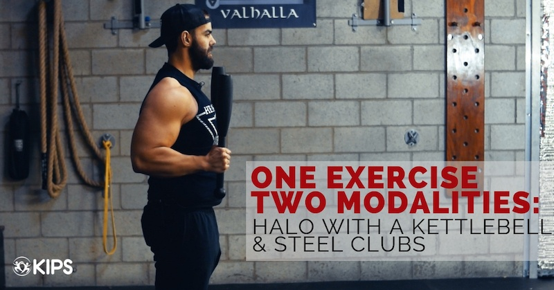 Halo with a Kettlebell and Steel Clubs