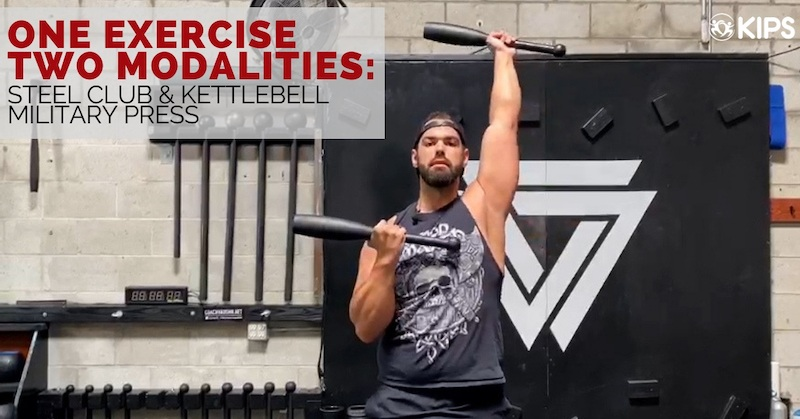 Steel Club and Kettlebell Military Press